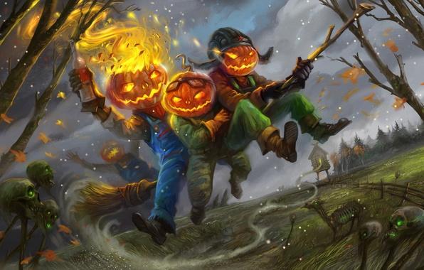 Picture fire, holiday, art, pumpkin, Halloween, skull, broom