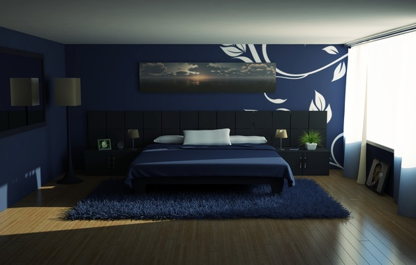 Picture room, Wallpaper, carpet, bed