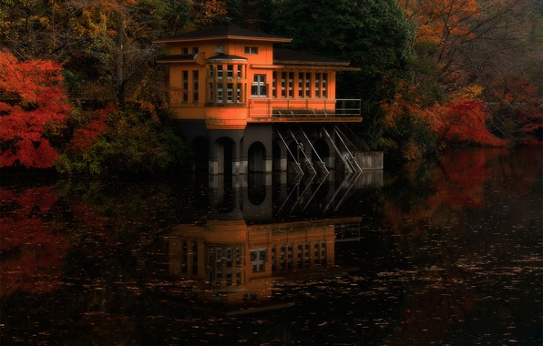 Picture autumn, forest, nature, river, paint, Japan, a house on the water