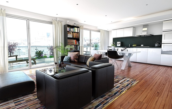 Picture design, the city, style, interior, balcony, living room, city apartment