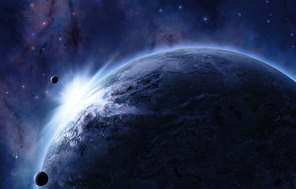 Picture space, stars, light, planet, satellite