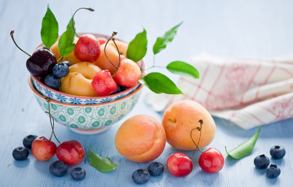 Picture summer, leaves, cherry, berries, blueberries, dishes, fruit, still life, cherry, apricots, Anna Verdina