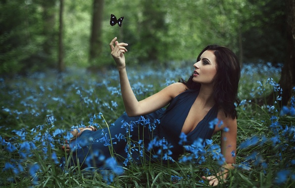 Picture forest, girl, flowers, butterfly
