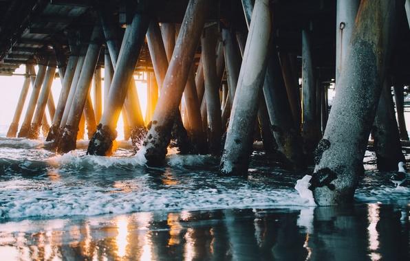 Picture sea, bridge, support