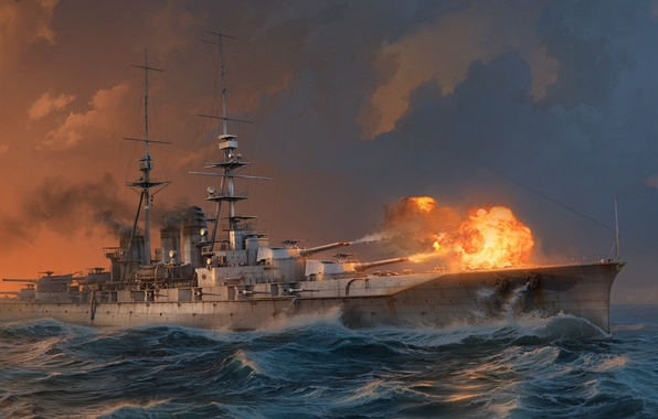 Picture Water, Sea, Wave, Smoke, Ship, Shot, Battleship, Wargaming Net, WoWS, World of Warships, The World …