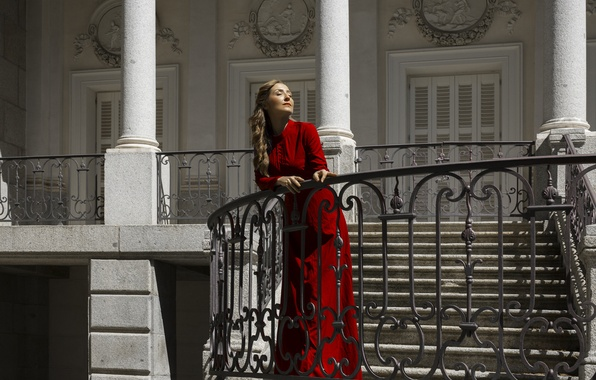 Picture summer, girl, face, style, red, dress, estate