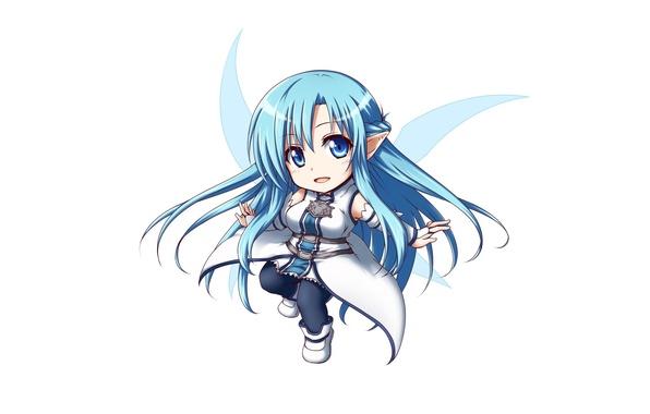 Photo Wallpaper Sword Game Anime Chibi Fairy Wings Blue Eyes