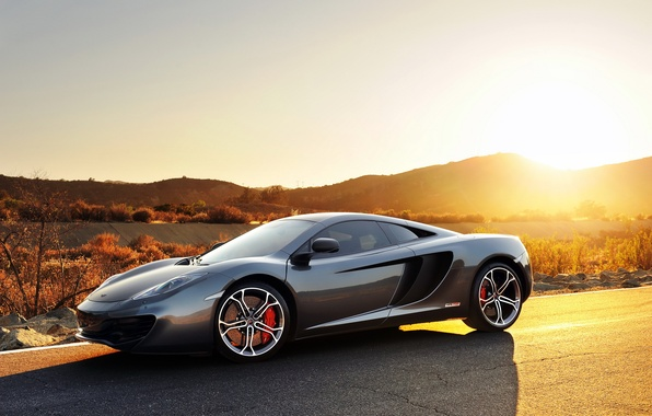 Picture car, grey, sport, McLaren, sport, supercar, cars, Kar, MP4-12C, Mclaren, sunset.