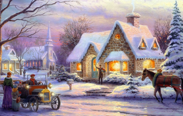 Picture winter, machine, retro, people, horse, horse, tree, room, Christmas, tree, town, box, painting, Christmas, art, …