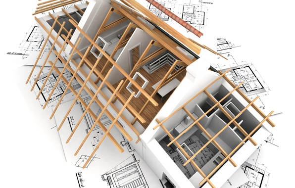 Picture house, rendering, Wallpaper, interior, plan, architecture, construction, room, layout