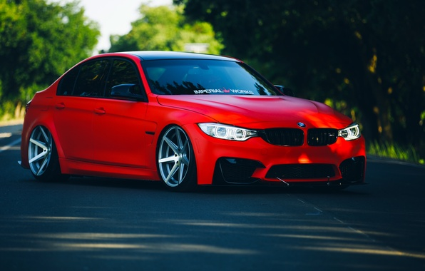 Picture BMW, Red, Car, Front, Vossen, Wheels, F80, Stancenation