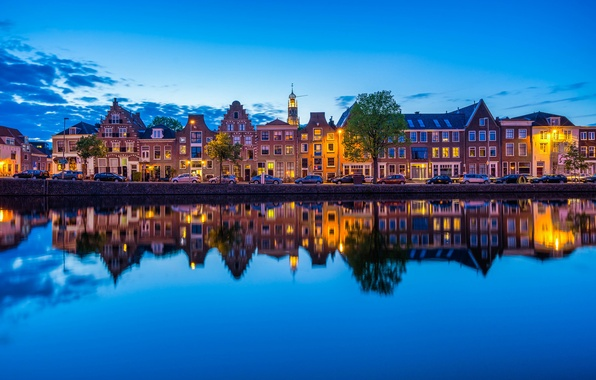 Picture machine, reflection, river, building, Netherlands, promenade, Netherlands, Haarlem, the guy near the river, Spaarne river, …