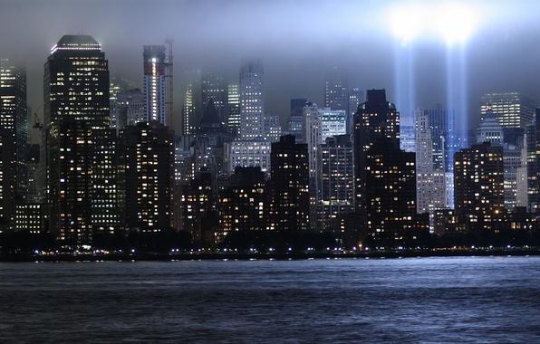Picture rays, light, skyscrapers, new York, World trade center, WTC, World Trade Center, memorial