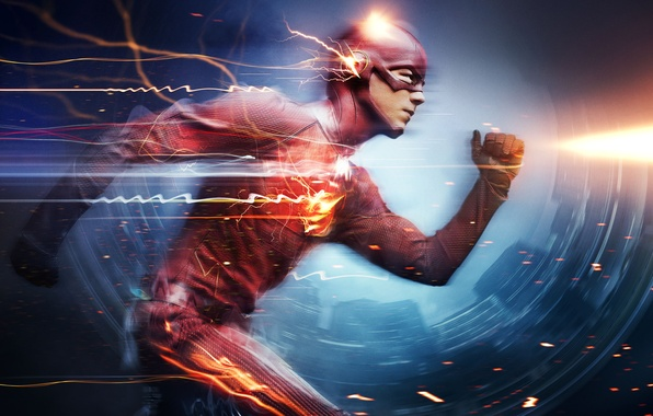 Picture City, Action, Red, Fantasy, Hero, Speed, Lightning, The, Wallpaper, Yellow, Eyes, Super, Boy, Year, DC …