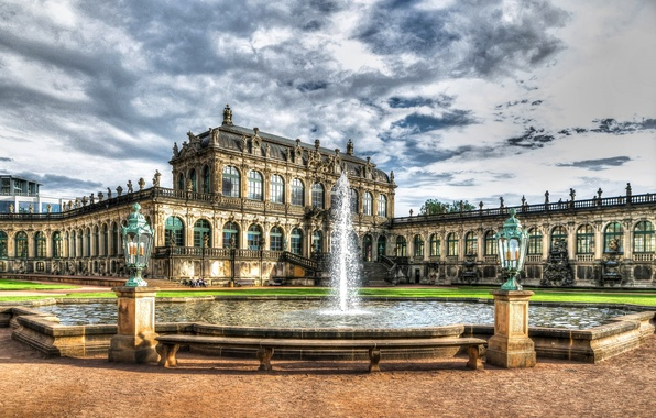 Picture clouds, HDR, Germany, Dresden, fountain, architecture, Sunny, Palace, palace, Kennel