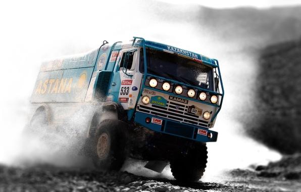 Picture Water, Blue, Sport, Machine, Truck, Race, Squirt, KAMAZ, Rally, KAMAZ, Dakar, Rally, The front