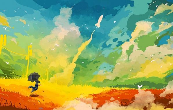 Picture field, the sky, grass, clouds, joy, jump, bird, figure, umbrella, rocket, start, delight