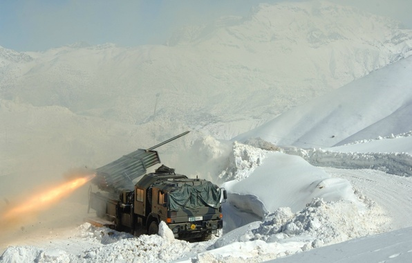 Picture fire, flame, mountains, snow, truck, M2 Browning, yuki, spark, shooting, suspension 6x6 or 8 × …
