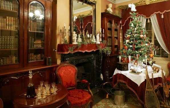 Picture photo, holiday, tree, chairs, Christmas, interior, glasses, New year, fireplace, table, decanter