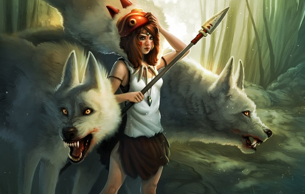 Picture forest, girl, mask, art, pendant, wolves, spear, Princess Mononoke, Princess Mononoke, Kelly Perry