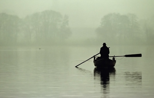 Picture fog, lake, boat, fisherman, morning