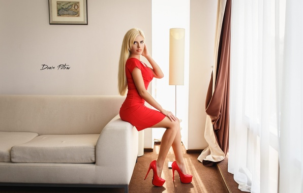 Picture room, sofa, interior, picture, makeup, figure, dress, hairstyle, blonde, shoes, curtains, beautiful, curtains, sitting, in …