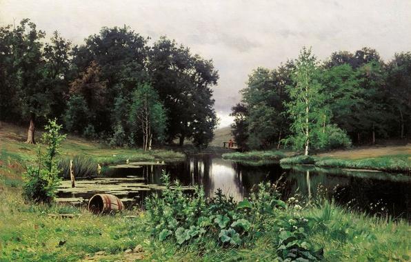 Picture summer, nature, Volkov, Efim Efimovich, Landscape with a pond