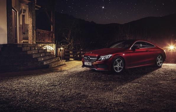 Picture car, night, Mercedes Benz, Coupe, C Class, Ciprian Mihai