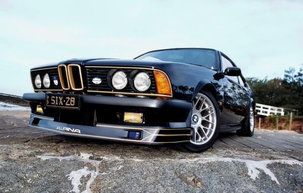 Picture asphalt, reflection, lights, BMW, black, alpina