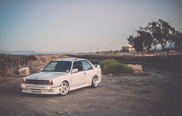 Picture road, BMW, white, tuning, E30, stance