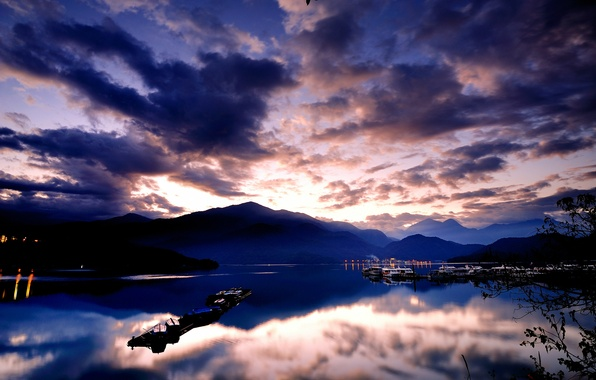 Picture the sky, water, clouds, mountains, lights, surface, reflection, blue, dawn, hills, Sea, boats