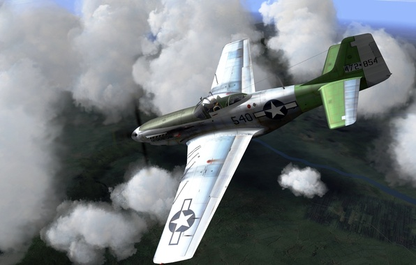 Picture the sky, figure, fighter, art, American, North American, WW2, P-51 Mustang, single