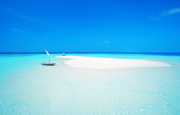 Picture sand, sea, beach, the sky, the ocean, boat, island, chair, umbrella, sail, the Maldives