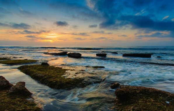 Picture sea, greens, the sky, water, the sun, clouds, landscape, nature, stones, background, widescreen, Wallpaper, vegetation, …