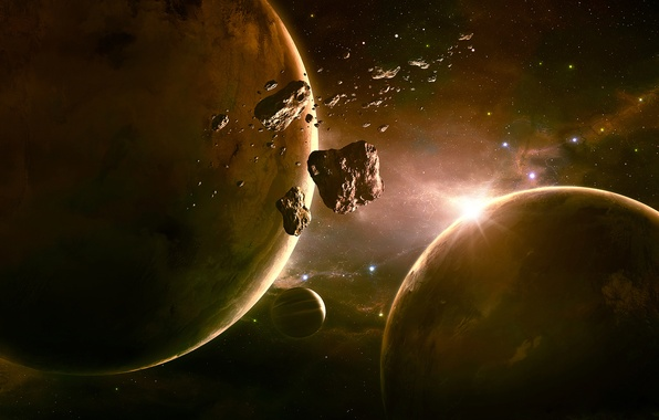 Picture space, planet, asteroids, art, space, qauz