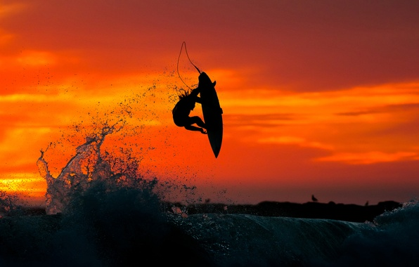 Picture sea, sunset, jump, water, surfing