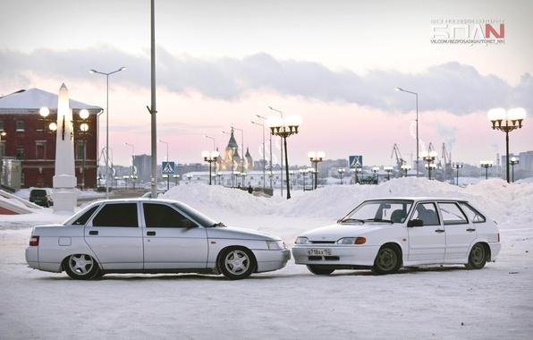 Picture winter, machine, auto, the city, home, white, auto, 2114, LADA, VAZ, Samara, 2110, BPAN, VAZ-2114