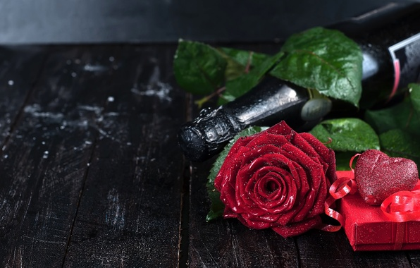 Picture flower, gift, heart, rose, bottle, champagne, Valentine's Day