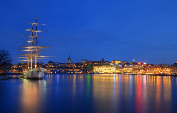 Picture sea, the sky, night, lights, reflection, ship, home, port, Stockholm, Sweden, Skeppsholmen