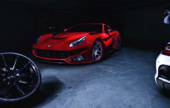 Picture Dark, Ferrari, Red, Front, Supercar, Berlinetta, F12, Novitec Rosso