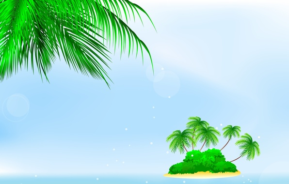 Picture sea, palm trees, island, the bushes, bushes, palm trees, sea island