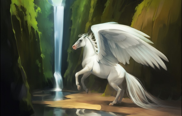 Picture water, river, fiction, horse, waterfall, wings, Pegasus