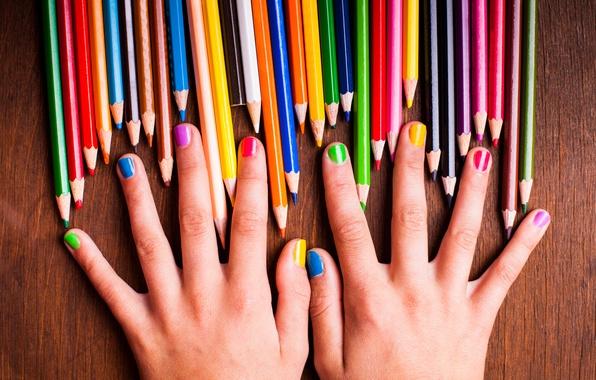 Picture girl, paint, rainbow, colors, hands, pencils, colorful, rainbow, girl, nails, colorful, hands, nails, pencils, teen, …