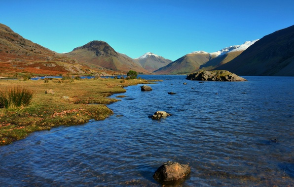 Picture water, mountains, river, stones, hills, stranded