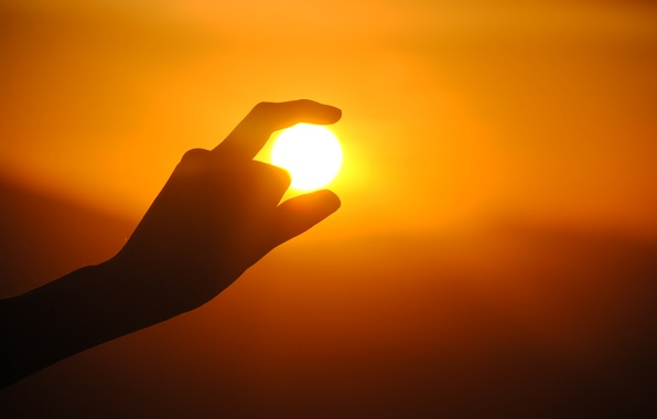 Picture the sun, sunset, hand, silhouette