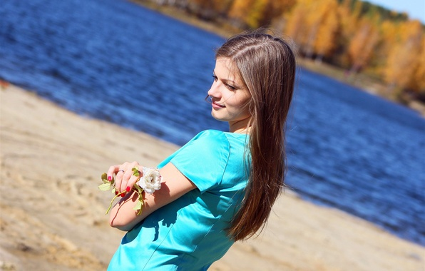 Picture GIRL, WHITE, BROWN hair, POND, SHORE, ROSE