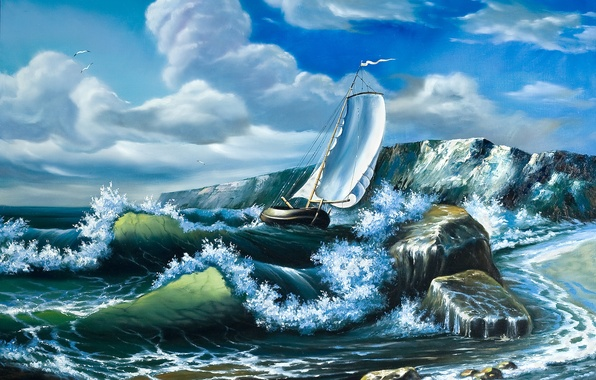 Picture sea, wave, the sky, clouds, ship, seagulls, picture, sails, painting, oil