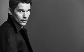 Picture portrait, black and white, background, jacket, actor, California Style, photographer, Mark Abrahams, Ethan Hawke, Ethan ...