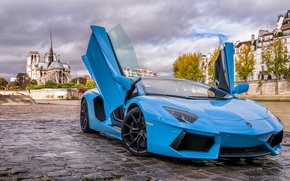 Picture Lamborghini, Paris, Blue, Aventador