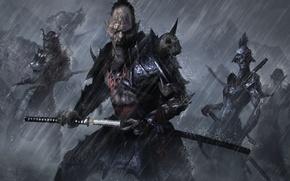 Picture rain, sword, art, Orc, katana, Samurai